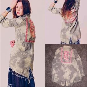 Free people military embroidered coat jacket top